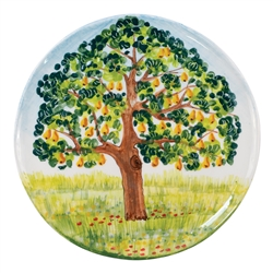 Vietri Pear Tree Round Wall Plate