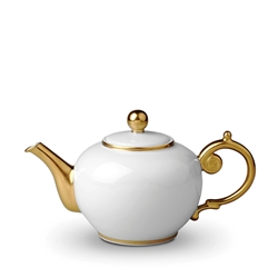 L'Objet Aegean 24kt Gold Tea Pot White
