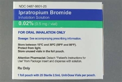.02% Ipratropium Bromide inhalation Solution - .2mg/mL (25/bx)