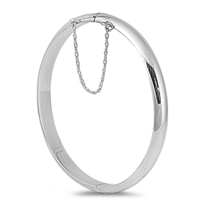 Silver Oval Polished Bangle Bracelet - 7mm