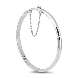 Silver Round Polish Bangle Bracelet - 5mm