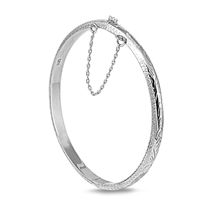Silver Round Bangle Bracelet - Engraving Design - 5mm