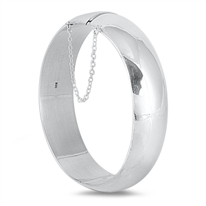 Silver Oval High Polish Bangle Bracelet  - 20mm