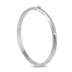 Silver Oval Shape Bangle Bracelet - 5mm