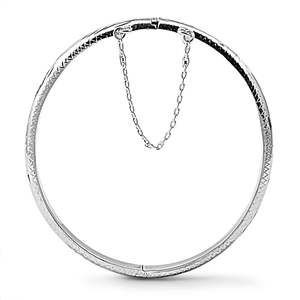 Silver Oval Engraved Bangle with Safety Chain  - 5mm