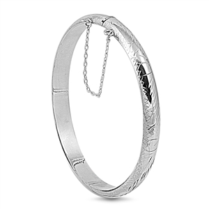 Silver Engraved Bangle  - 7 X 55 X 60mm