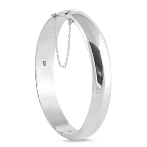 Silver Oval Polish Bangle Bracelet - 12mm