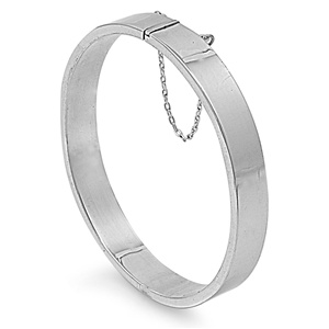 Silver Oval Shape Rectangle Tube Bangle Bracelet - 9x60x65 mm