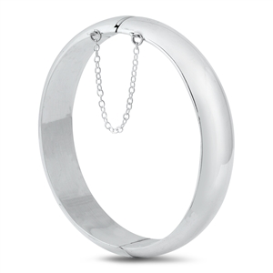 Silver Oval Shape Bangle Bracelet - 15mm