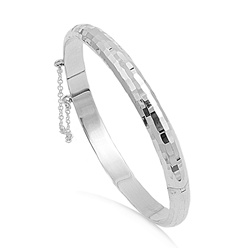 Silver Diamond Cut Bangle - 7 X 60 X 65mm