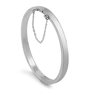 Silver Oval Shapr Rectangular Tube Bangle - 5mm