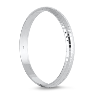 Silver Diamond Cut Bangle - 9mm