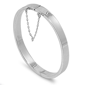 Silver Oval Rectangle Tube Bangle Bracelet - 7mm