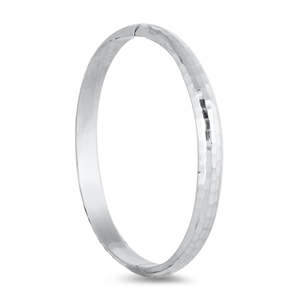 Silver Diamond Cut Bangle - 7mm