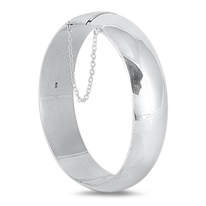 Silver Oval High Polish Bangle Bracelet - 18mm