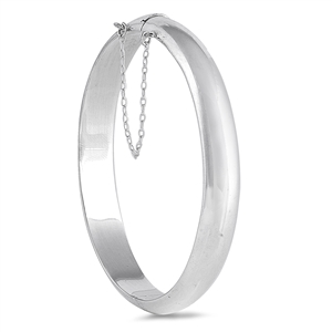 Silver Oval Polished Bangle Bracelet - 9mm