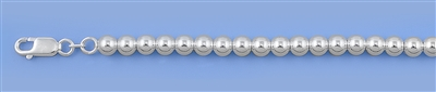 Silver Italian Hollow Bead Necklace - 5mm