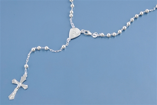 Silver Rosary Necklace - 4 mm