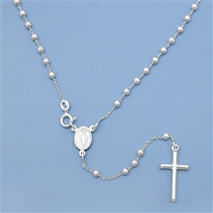 Silver Rosary Necklace - 3mm