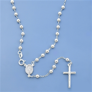Silver Rosary Necklace -  Diamond Cut