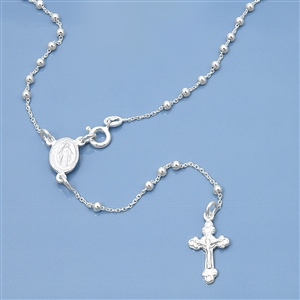Silver Rosary Necklace - 2.5mm