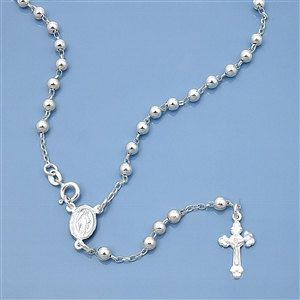 Silver Rosary Necklace - 4mm