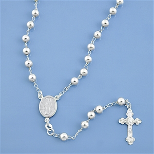 Silver Rosary Necklace - 5 mm