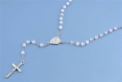 Silver Rosary Necklace - White Beads 4mm
