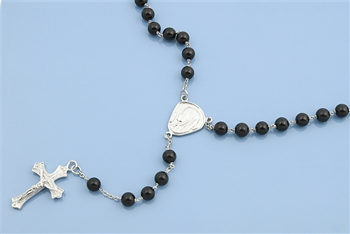 Silver Rosary Necklace - Black Beads 5mm