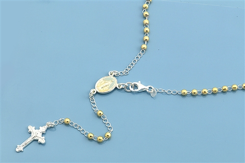 Sterling Silver Gold Plated Necklace w// Cross Pendant /& Beaded Chain Made Italy