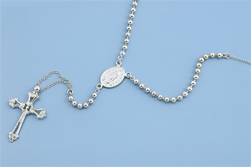 Jewelry Necklaces Rosaries Sterling Silver Polished Rosary Necklace