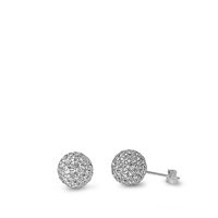 Silver Crystal Ball Earring - 8 mm
