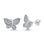 Silver Earrings with CZ - Butterfly