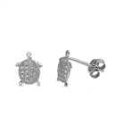 Silver CZ Earrings - Turtle