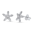 Silver Earrings with CZ - Starfish