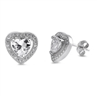 Silver Earrings with CZ - Heart