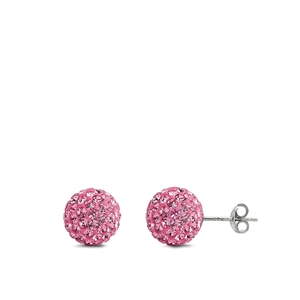 Silver Crystal Ball Earring - 10 mm