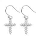 Silver Earrings with CZ - Ichthys w/ Cross