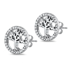 Silver Earrings with CZ - Tree of Life