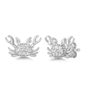 Silver Earrings with CZ - Crab