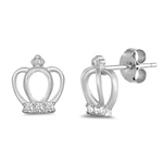 Silver Earrings with CZ - Crown