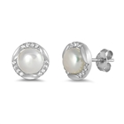 Silver Earrings with CZ - Freshwater Pearl