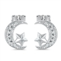 Silver Earrings with CZ - Moon and Star