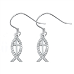 Silver Earrings with CZ - Christian Fish