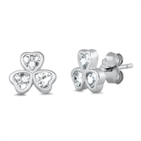 Silver Earrings with CZ - Clover
