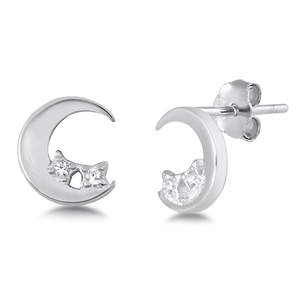 Silver CZ Earrings - Moon & Star