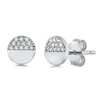 Silver Earrings with CZ - Screw