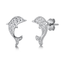 Silver CZ Earrings - Dolphin