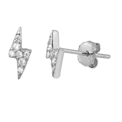 Silver CZ Earrings - Thunderbolt
