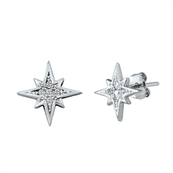 Silver CZ Earrings - Star
